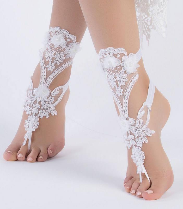 Unique Bridal Shoes White Lace Barefoot Sandals Wedding Barefoot Flexible Wrist Lace Sandals