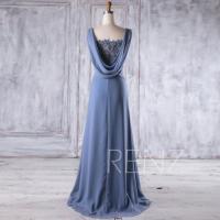 2017 Steel Blue Chiffon Bridesmaid Dress, Lace V Neck ...