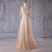 2017 Beige Tulle Bridesmaid Dress, V Neck Lace Wedding ...