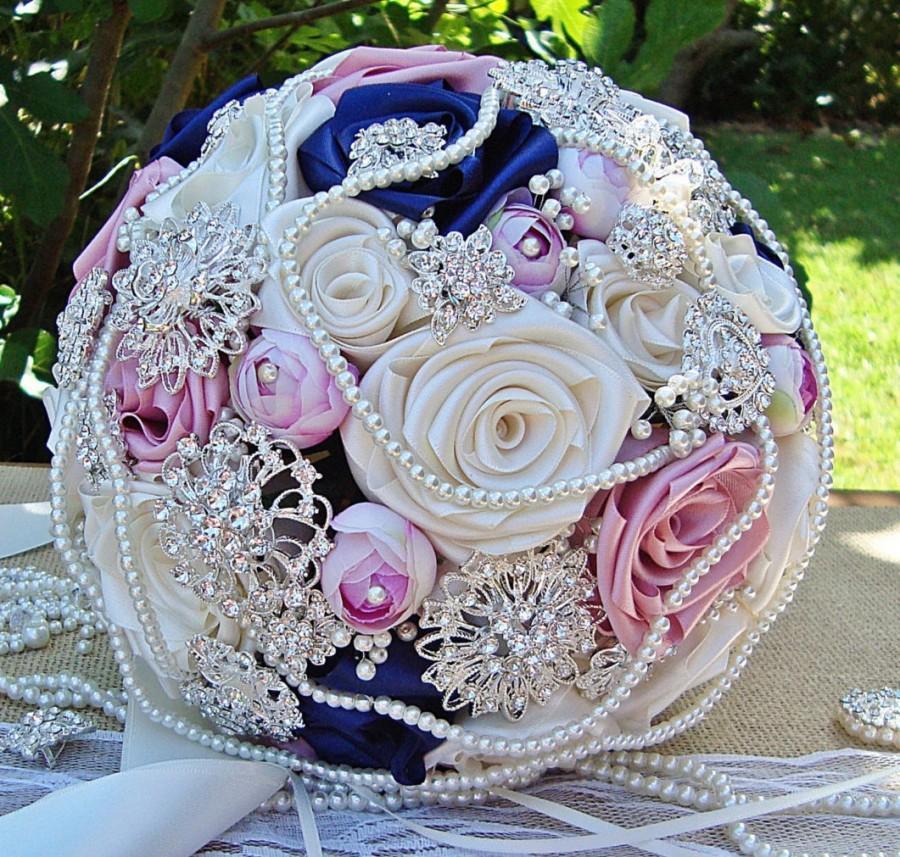 Bridal Bouquet Blush Pearl Brooch Wedding Dusky Pink Navy