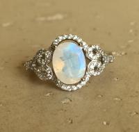 Oval Moonstone Engagement Ring- Halo Promise Ring- Wedding ...