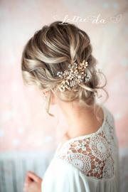 gold boho hair vine comb bridal