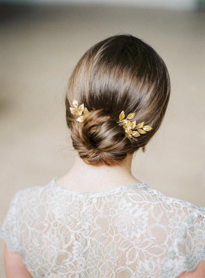 gold bridal pins- gold leaf headpiece-bridal- gold leaf pins