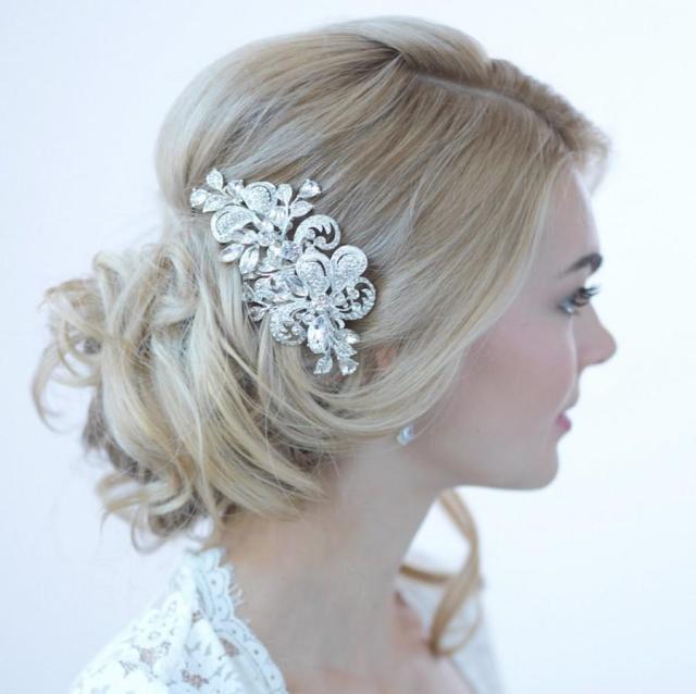 rhinestone bridal hair clip, wedding hair accessories