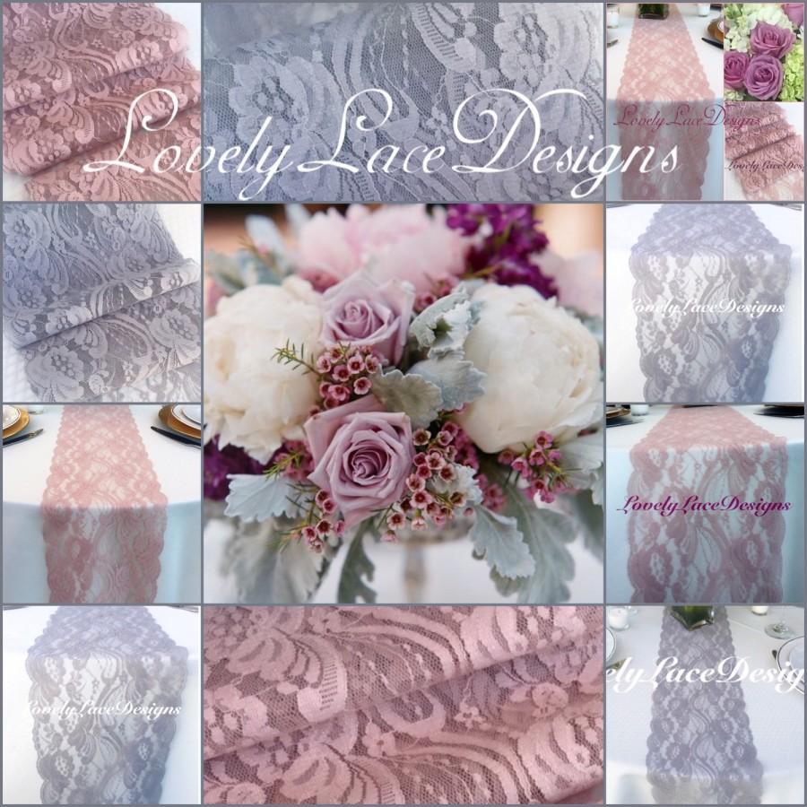 WEDDING Decor/LaceTable Runnes/Silver/Grey&Mauve/Dusty