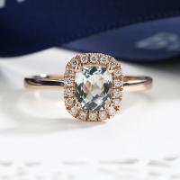Aquamarine Engagement Ring Rose Gold Art Deco Diamond ...