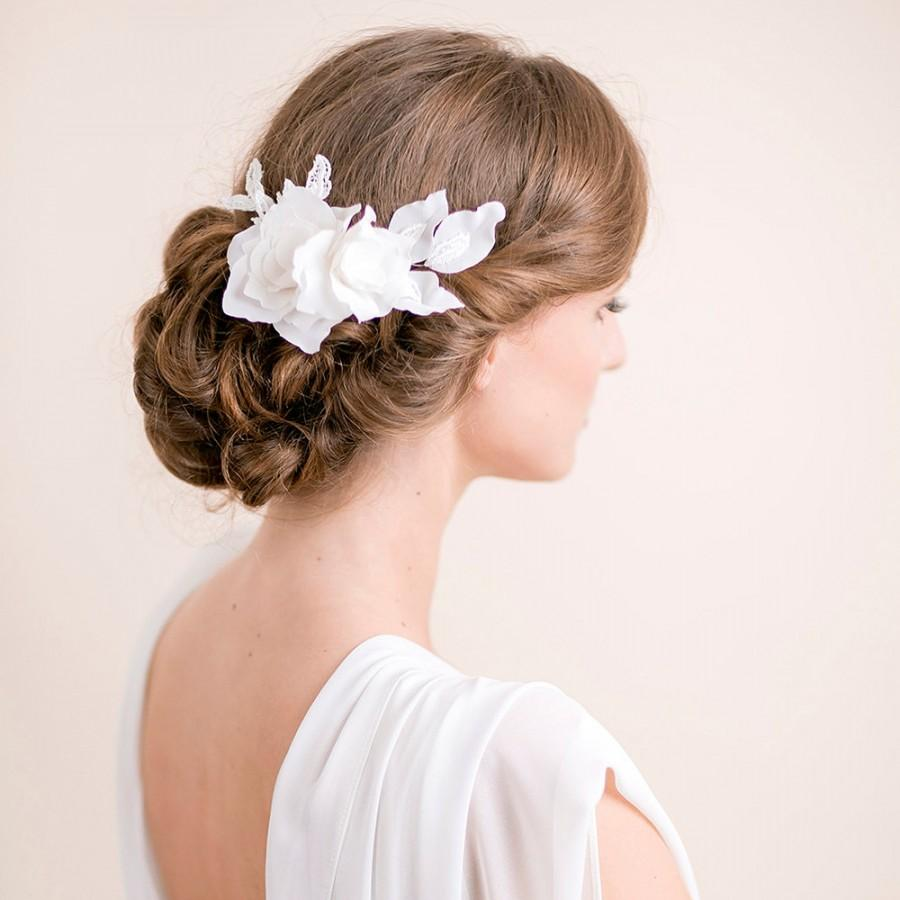 lily magnolia flower hair piece bridal hairpiece flower lace wedding hair piece bridal hair accessories