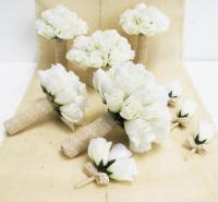 Wedding Bouquet Set 9 Pieces Set White Silk Roses Bleached