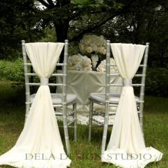 Cream Chair Covers For Weddings Kitchen Chairs With Casters 2 X Wedding Chiffon Sash White Decor Chiavari Cover Free Sparkly Wrap
