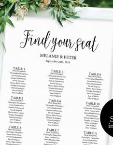 Wedding seating chart printable template plan board pdf instant download  also rh dedbook