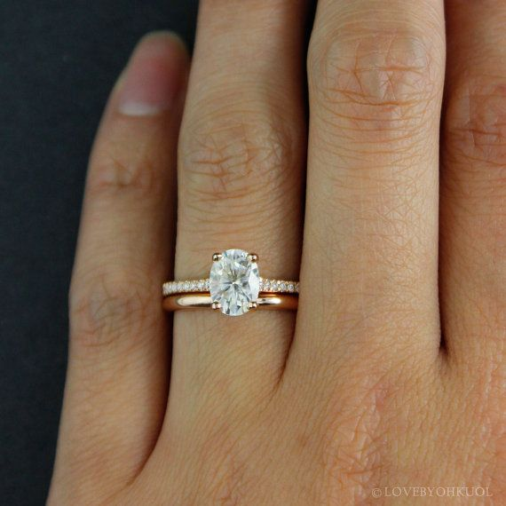 forever one d e f colorless oval solitaire engagement ring wedding set comfort fit wedding band