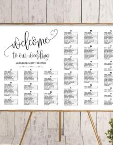 Wedding alphabetical seating chart template printable editable plan find your seat sign also rh weddbook