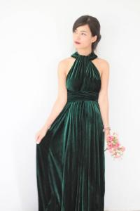 Green Velvet Dress, Bridesmaid Dress, Infinity Dress, Prom ...