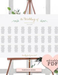 Greenery wedding seating chart table plan templates also weddbook rh