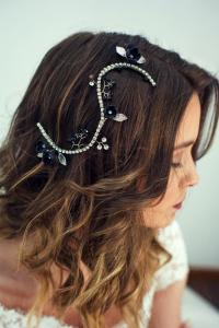 Bridal Black Hairpiece, Black Hair Piece, Wedding Black ...