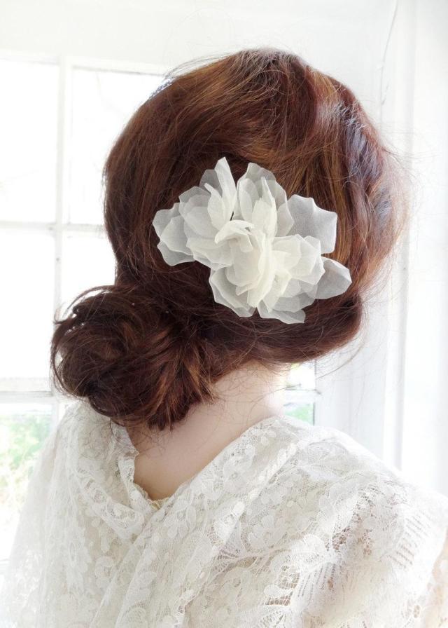 bridal silk flower on comb, wedding headpiece, sheer beauty
