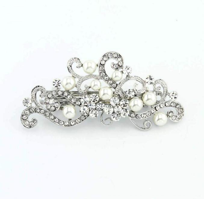 wedding hair clip, crystal pearl hair barrette, crystal