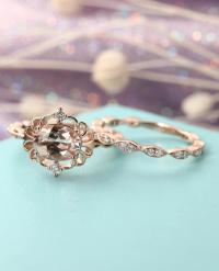 Vintage Morganite Engagement Ring Set Art Deco Antique