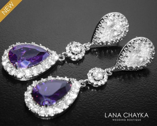 Amethyst Crystal Earrings Bridal Purple Chandelier Teardrop Halo Wedding 37 50 Usd