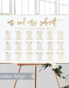 Gold seating chart wedding printable diy modern table also rh dedbook