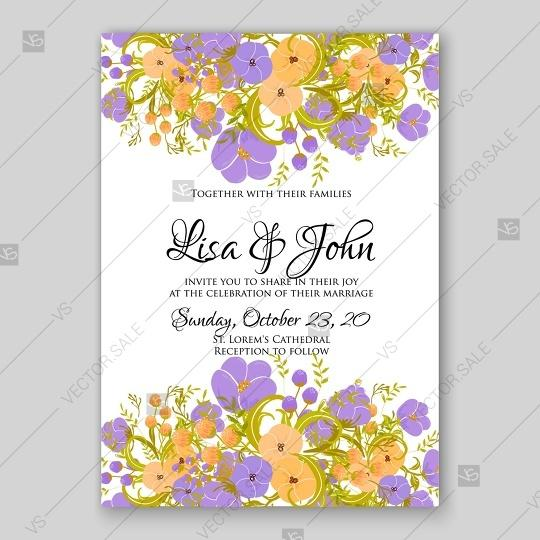 Wedding Invitation Card Bridal Shower Violet Peony And