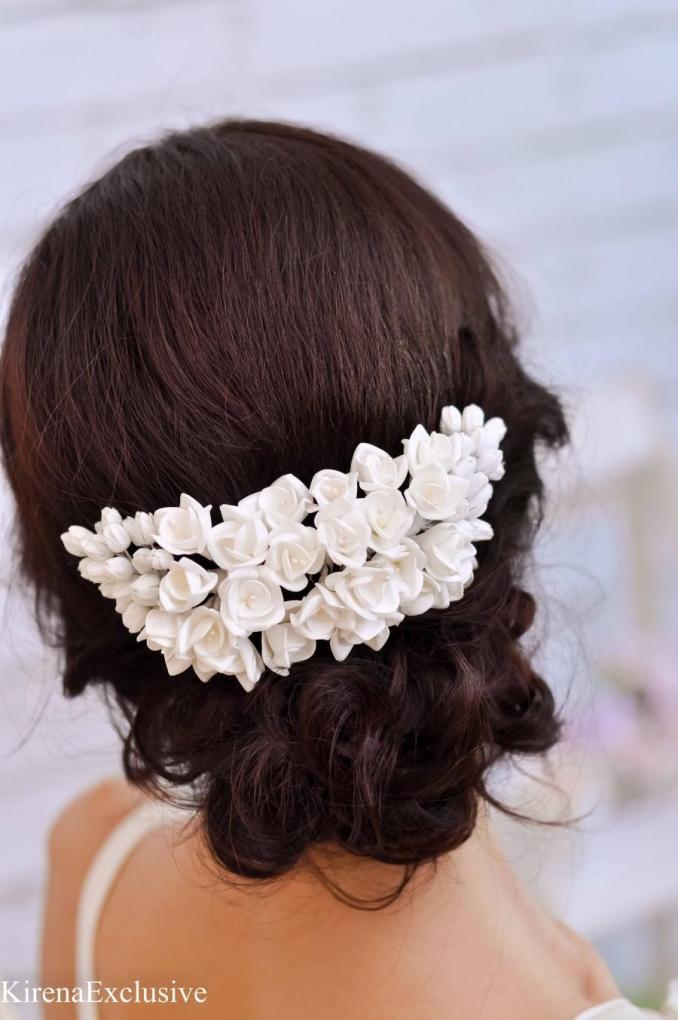 white flower hair comb wedding hair comb floral hair comb