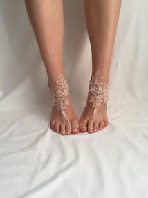Powder Pink Sandals Bridal Barefoot Wedding
