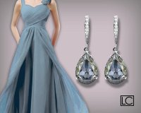 Blue Shade Crystal Earrings Swarovski Rhinestones Blue ...