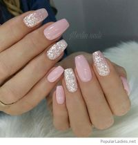 Nail - Light Pink Gel Nails With Silver Glitter #2844921 ...