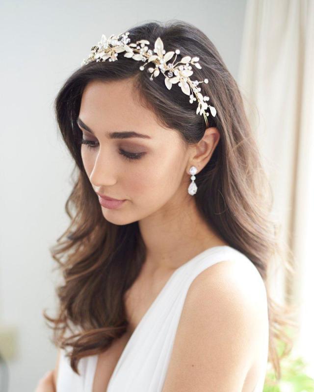 botanical crystal floral headband, wedding rhinestone