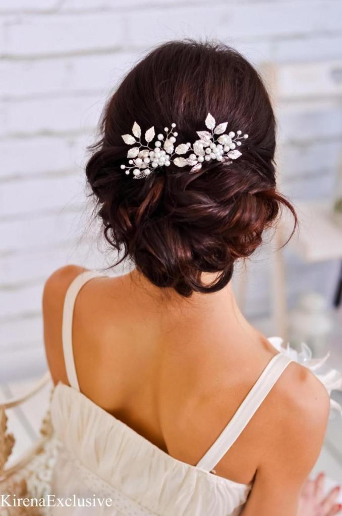 silver leaf hair comb wedding hair clip wedding hair