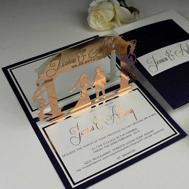 Rose Gold Wedding Invitations Navy