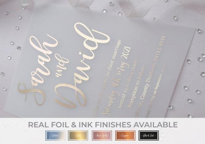 Foil Vellum Invitations Wedding