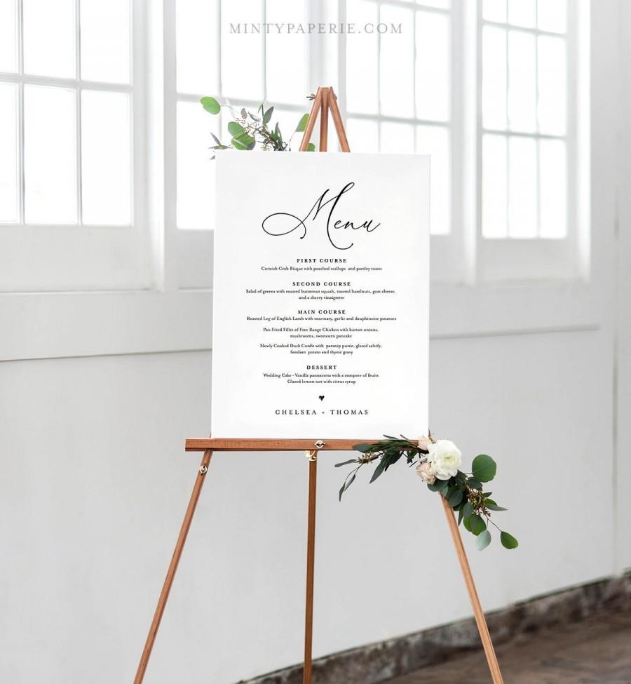 wedding menu sign template instant download 100 editable printable menu card and poster board 4 sizes 5x7 16x20 18x24 24x36 chm 04 2972408 weddbook