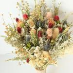Blue Thistle Burgundy Dried Flowers Preserved Daisy Flowers Greenery Bouquet Mix Of Blush Peach Flowers Fall Winter Bridal Bouquet 2973514 Weddbook
