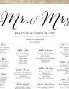 Simple wedding seating chart romantic customizable black  white printable also ideas weddbook rh