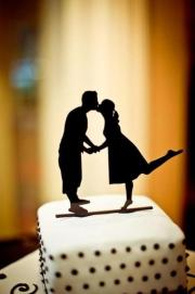 custom silhouette wedding cake