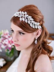 crystal leaves bridal headpiece