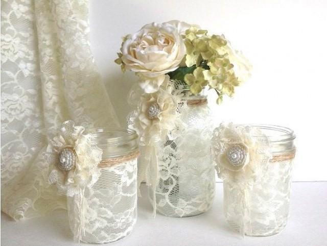 3 Piece Lace Covered Mason Jars With Adorable Lace Flowers