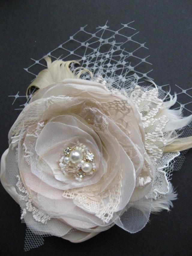 Vintage Wedding Fascinator Bridal Flower Hairpiece Burlap