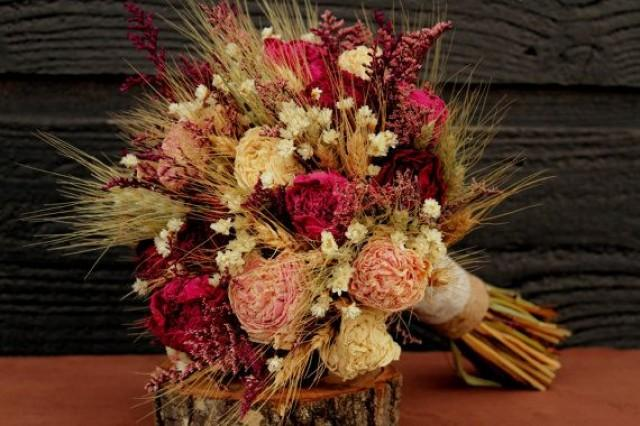 Rustic Burgundy And Pink Wedding Bouquet, Large Bridal