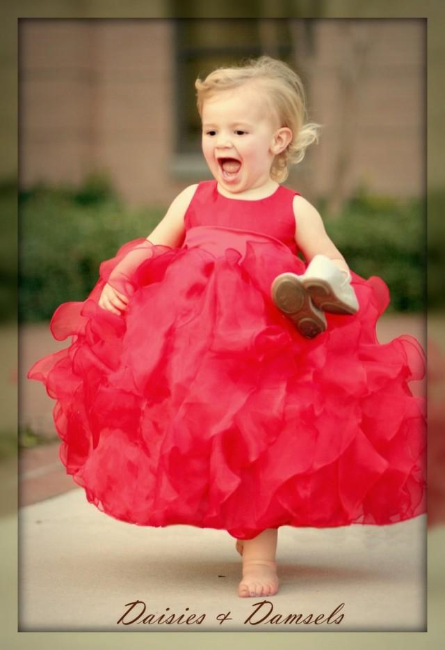 Red Flower Girls Dress Tea Length Lots Of Ruffles