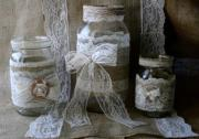 vintage lace wedding jars burlap