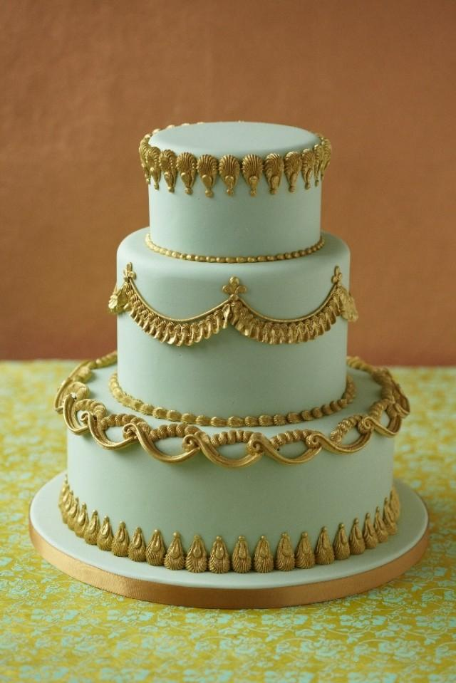 Cute Birthday Cake Wallpapers Mint Wedding Gold Trimmed Mint Cake 2067728 Weddbook