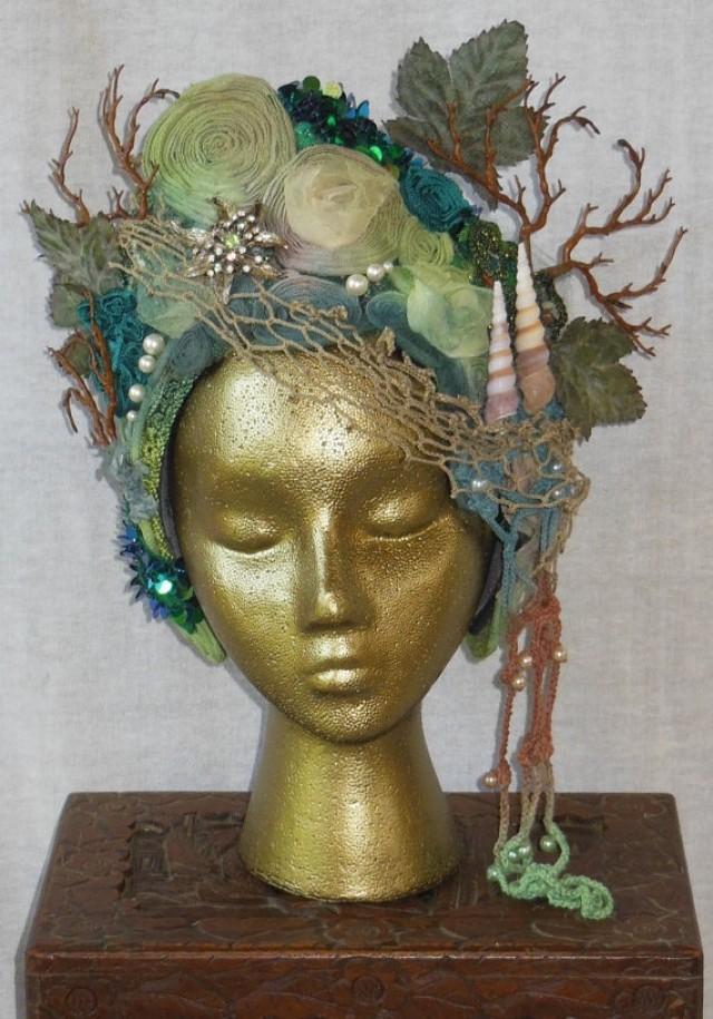 Hand Dyed Mermaid Sea Goddess Fantasy Headdress Headpiece Tiara Hat Crown Shells Pearts Sequins