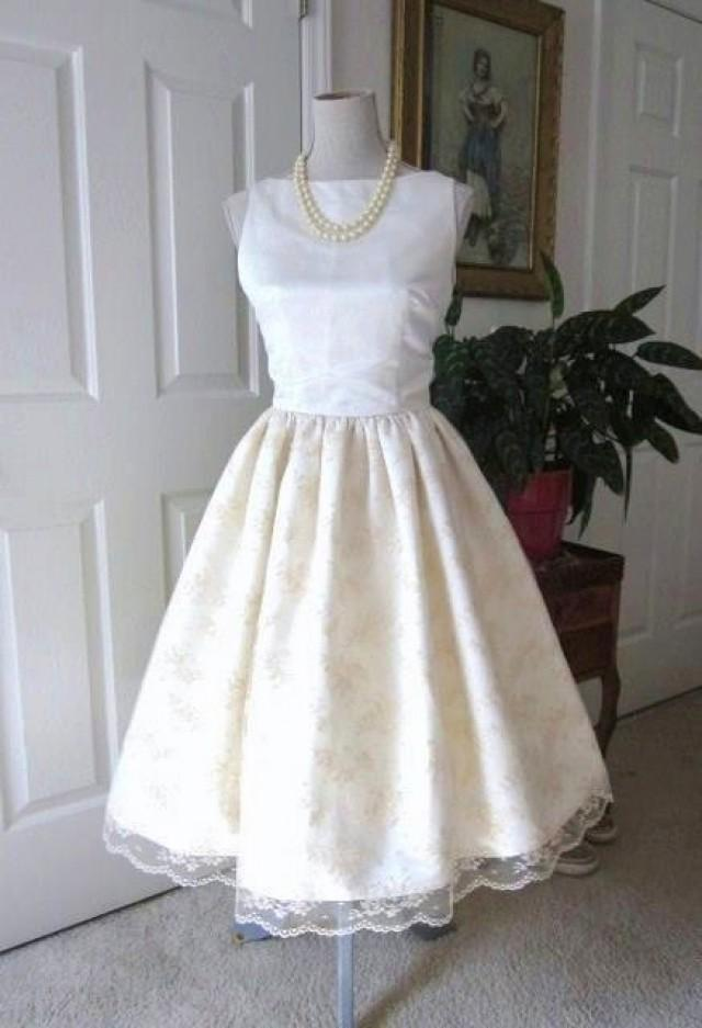 WEDDING DRESS 1960s Inspired Satin Lace Classic Bridal Audrey Hepburn Style 2219857  Weddbook