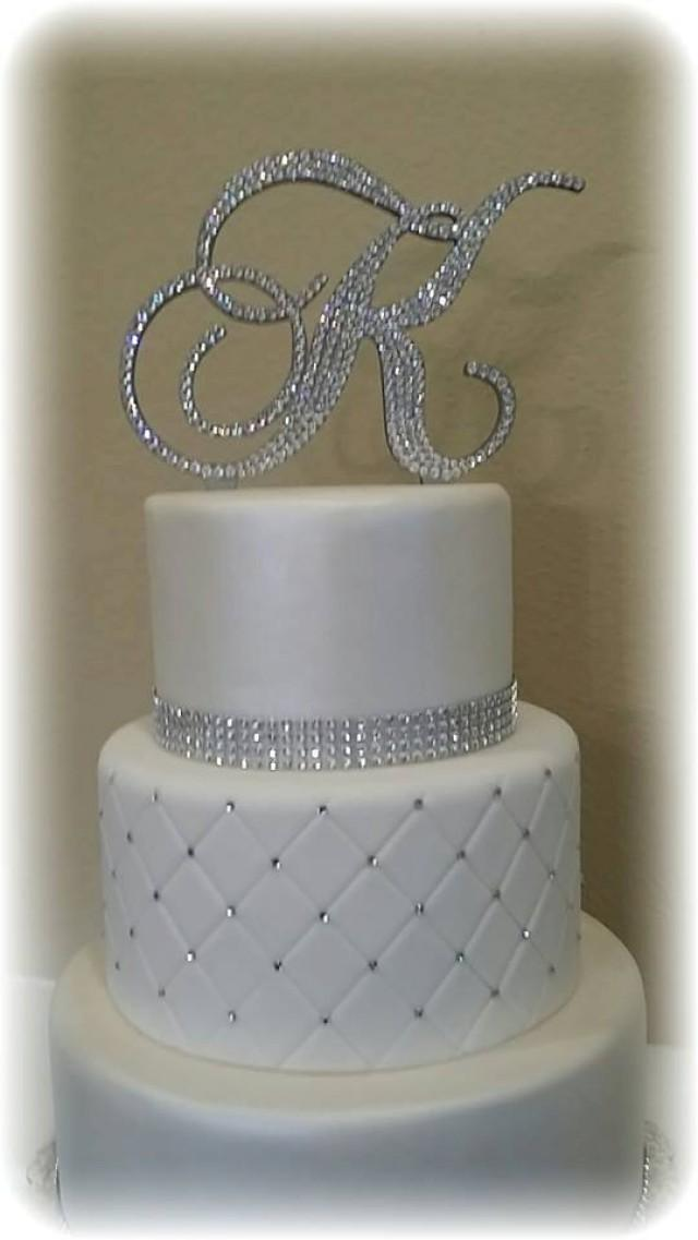 Monogram Wedding Cake Topper Crystal Initial Any Letter A