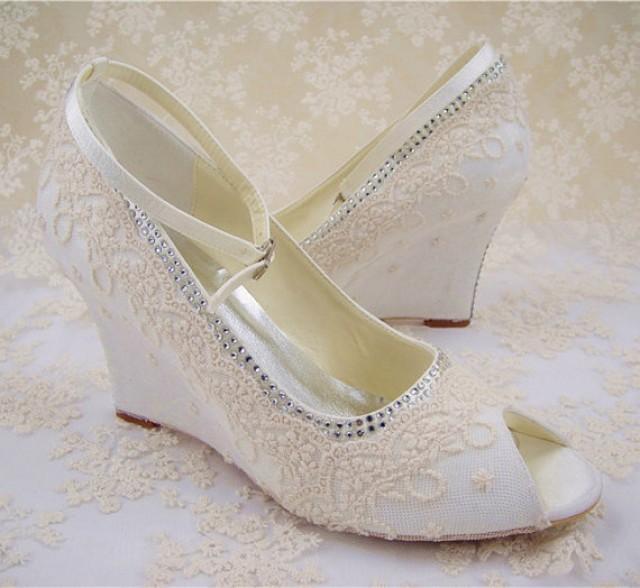 Lace Wedding Shoes Peep Toe Bridal Shoes Rhinestone Wedge Shoes Bridesmaid Shoes Champagne