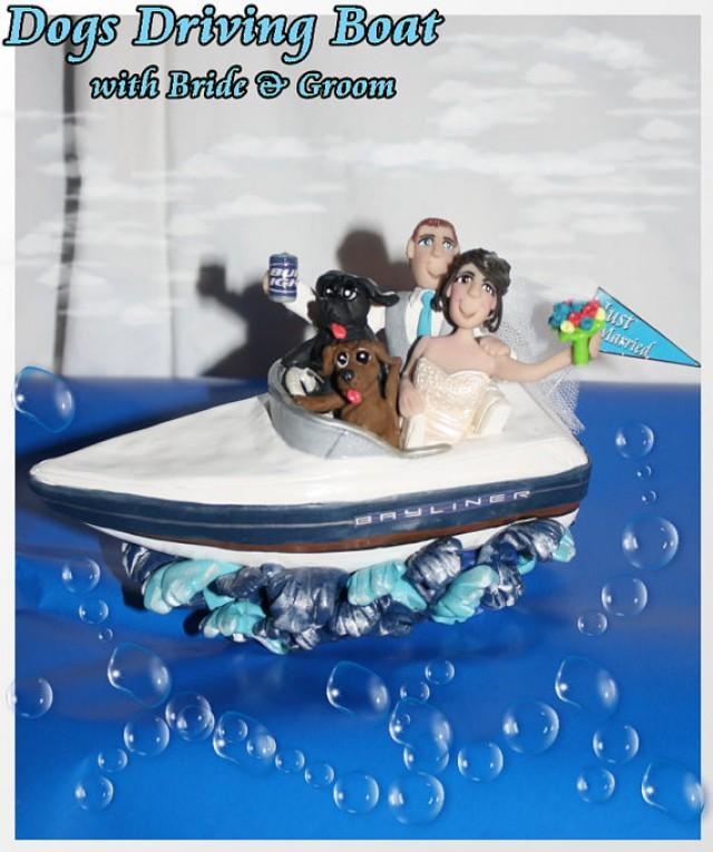 Wedding Cake Topper Dog Driving Boat With Bride And Groom