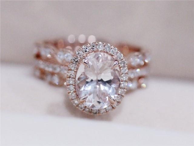 3 Rings Morganite Wedding Set VS 6X8mm Pink Morganite Ring